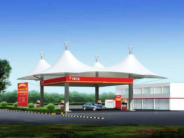 菏泽曹县加油站膜结构罩棚-菏泽景观加油站设计 规划 施工