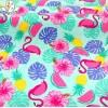 供应针织锦氨薄细泳衣布料夏季40D36F薄细纤维卡通印花儿童